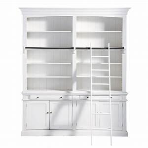 bibliotheque avec echelle en bois blanche l 200 cm With bibliotheque meuble maison du monde