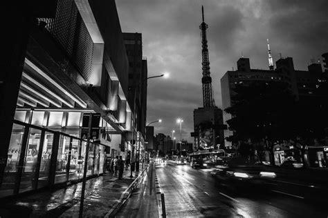 stock photo  black  white city dark
