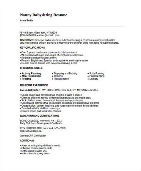 Babysitting Resume Template by All Things You Should About Nanny Resume