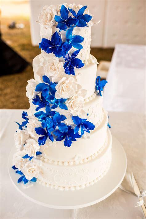 blue orchid wedding cake peacock royal blue wedding