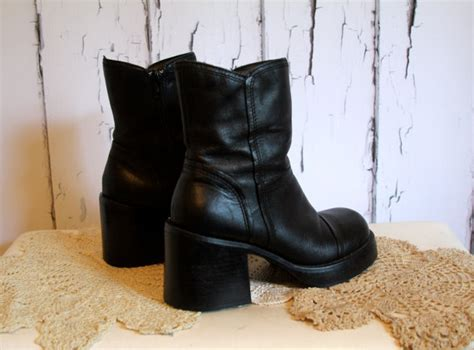 90s Black Chunky Platform Ankle Boots by HildaAgnes on Etsy