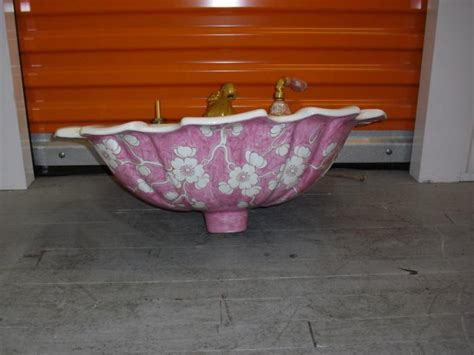 sherle wagner pink chinoiserie floral pattern sink basin 105