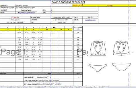 Garment Specification Sheet Aiyin Template Source