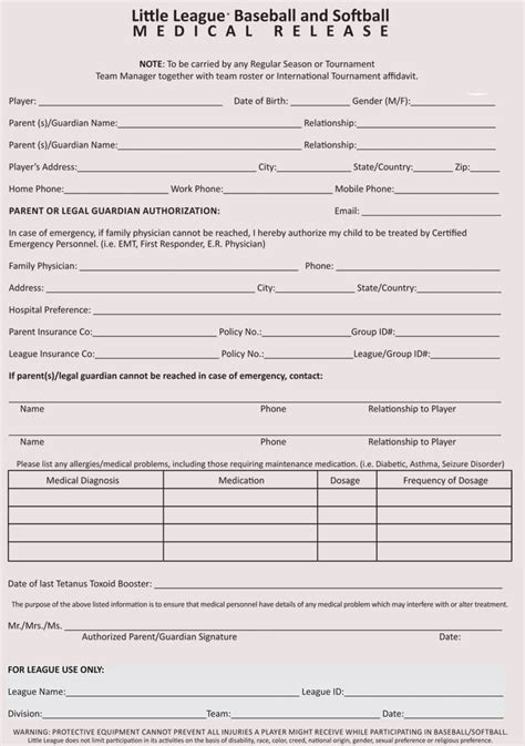 sample medical waiver forms generic child employee