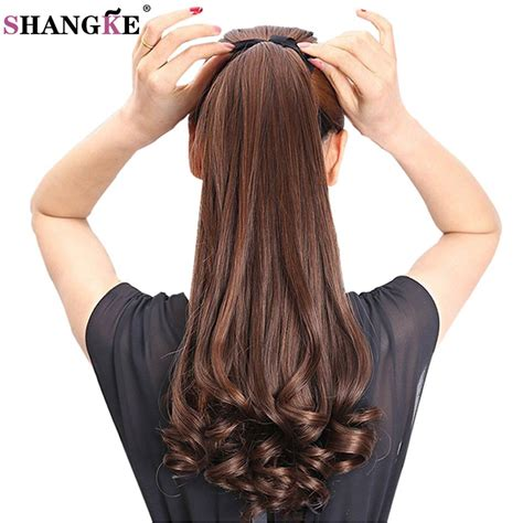 Shangke Hair 22 Long Curly Synthetic Ponytail Light
