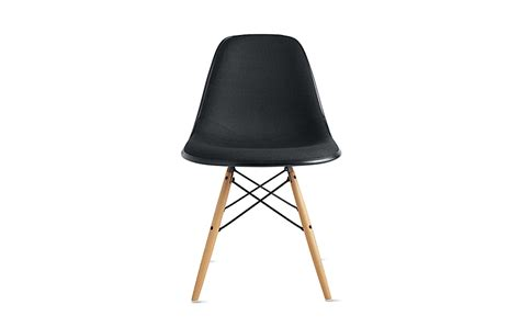 eames molded fiberglass side chair dowell base upholstered