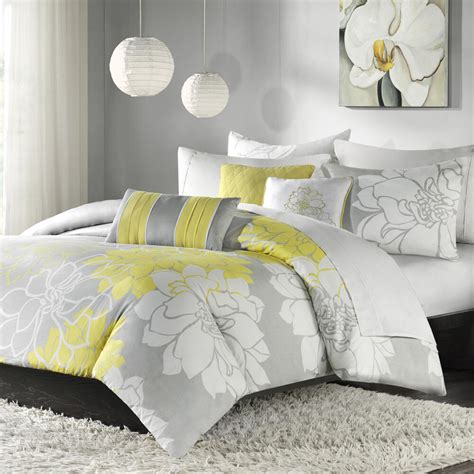Covers Grey by Beautiful Modern Chic Yellow Grey White Textured Flower