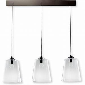 Suspension Luminaire Noir : rampe metal noir 3 lampes abat jour verre diane ~ Teatrodelosmanantiales.com Idées de Décoration