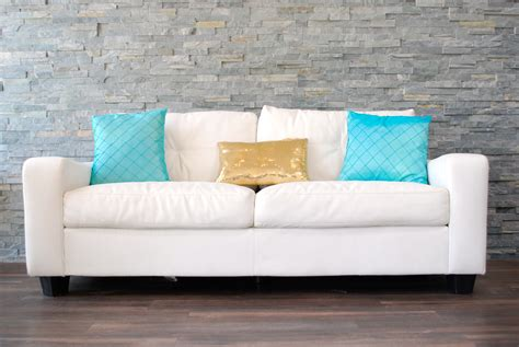 Pillows For Leather Sofa by White Leather Plush Sofa Decorative Pillows Not Included