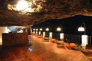 The Grotto Lights Sea Cave Restaurant In Southern Italy