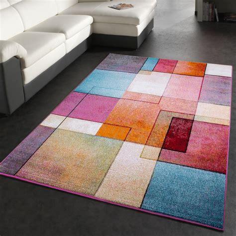 designer teppich modern bunt karo muster multicolour