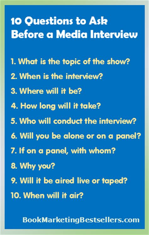 10 Questions To Ask Your Media Interview Rights  Book Marketing Bestsellers