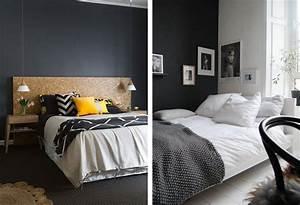 awesome chambre mur gris meuble noir photos design With quelle couleur va avec le gris 6 1001 idees deco de chambre sous pente cocoon