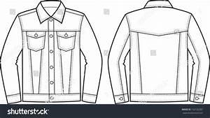 Vector Illustration Jeans Jacket Front Back Stock Vector 132132287 - Shutterstock