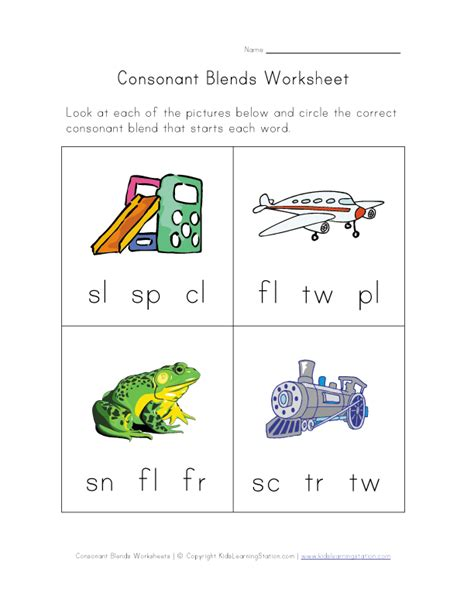 consonant blends worksheet three of four learning