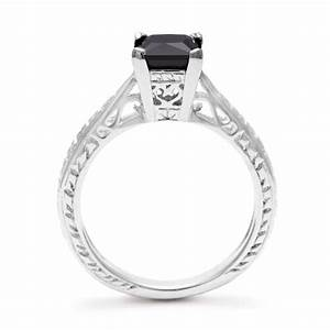 1ct Princess Cut Black Diamond Solitaire Antique Model ...