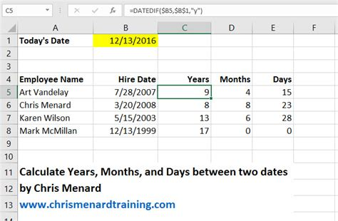 datedif function microsoft excel chris menard training