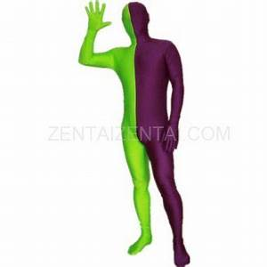 Purple And Lime green Fullbody Full Body Lycra Spandex