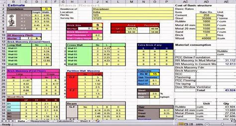 spreadsheet estimating cost estimating sheets home construction cost building house