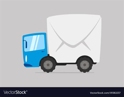 Cartoon Mail Delivery Truck Royalty Free Vector Image