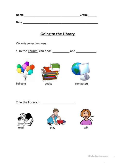 going to the library worksheet free esl printable