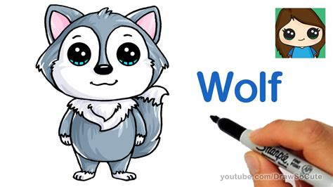 draw  cartoon wolf easy youtube
