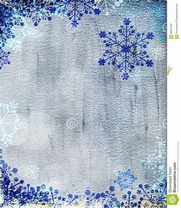 Silver Christmas Card With Blue Snowflakes Stock ...