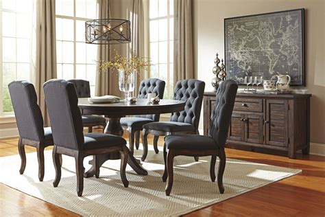 trudell dark brown  extendable pedestal dining table