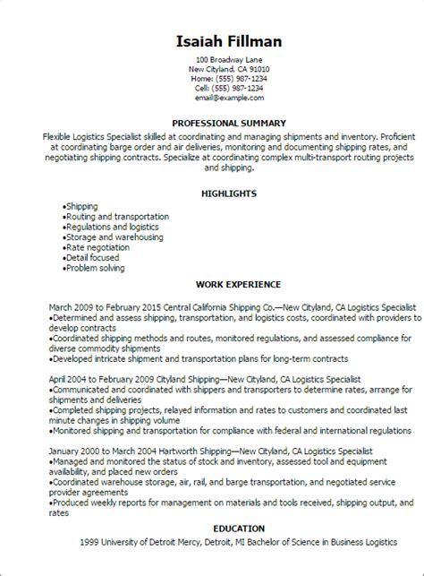 professional logistics specialist resume templates to showcase your talent myperfectresume