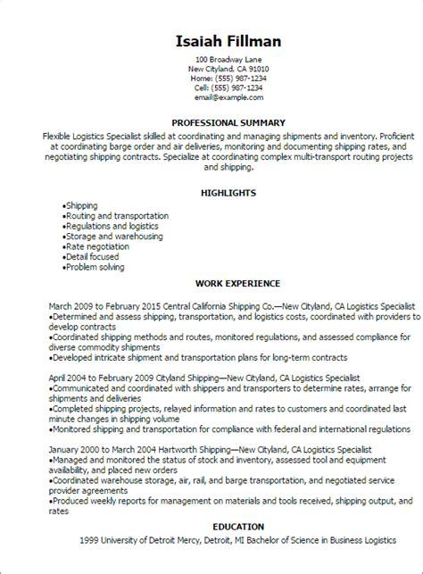 resume  logistics manager