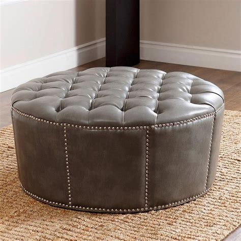 ottoman with nailhead trim abbyson living newport grey leather nailhead trim round