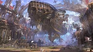 Ship, Ruin, Airships, Steampunk, Futuristic, City, Hd