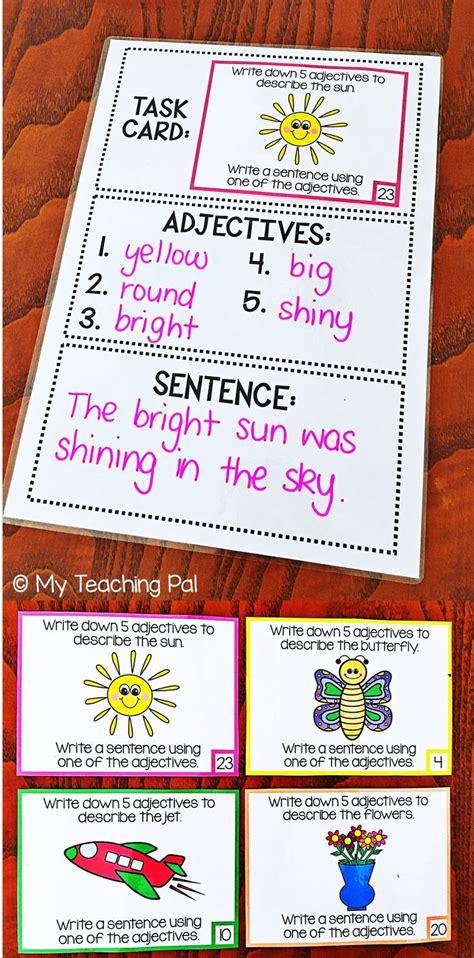 adjective task cards brainstorming  sentence writing