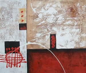 Tableau Peinture Sur Toile : peinture abstraite rouge et beige tableau peinture abstrait ~ Teatrodelosmanantiales.com Idées de Décoration