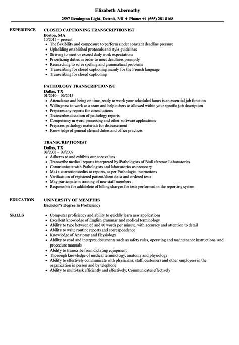 transcriptionist resume sles velvet