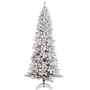 10 foot alim white christmaa tree 7 ft heavy white snow flocked slim pencil clear lights prelit tree pp