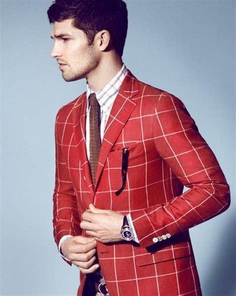 Red and White Plaid Blazer for Men