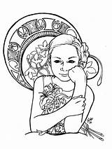 Coloring Nouveau Adult Pages Adults Inspiration Drawing Books Drawings Deco Dessin Clipart Mucha Clip Children Prefer Alphonse Flower Coloriage Adulte sketch template
