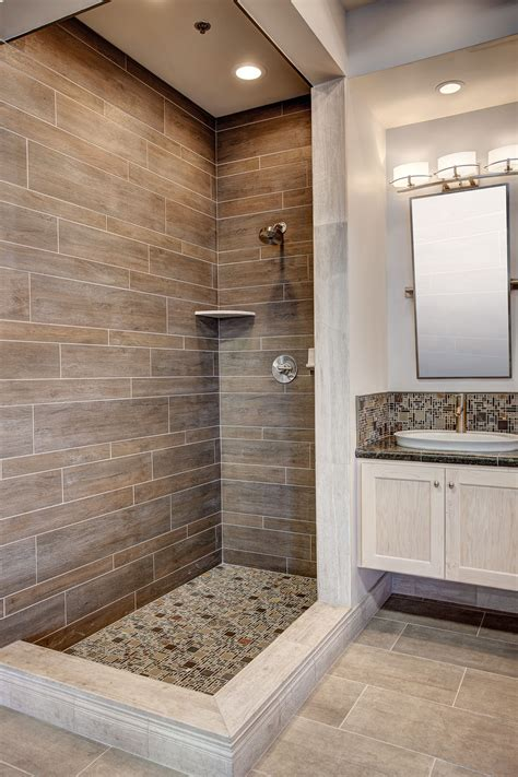 faux wood tile shower featuring dyrewood cinnamon faux