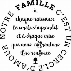 Sticker citation Notre famille c est l amour Stickers Citations Français Ambiance sticker