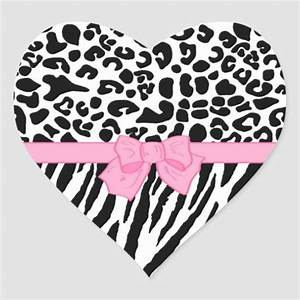 Girly Leopard Zebra Animal Print and Cute Pink Bow Heart ...