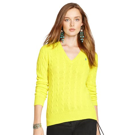 yellow cable knit sweater polo ralph cable knit v neck sweater in yellow
