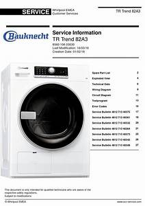 Bauknecht Tr Trend 82a3 Dryer Service Manual And