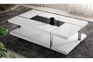 Table Basse Blanc Laqué Et Bois : table basse laqu blanc et noir promotion table basse trendsetter ~ Teatrodelosmanantiales.com Idées de Décoration