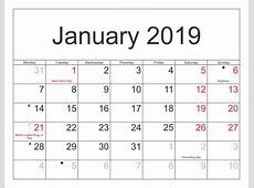 January 2019 Calendar Download January Calendar, January