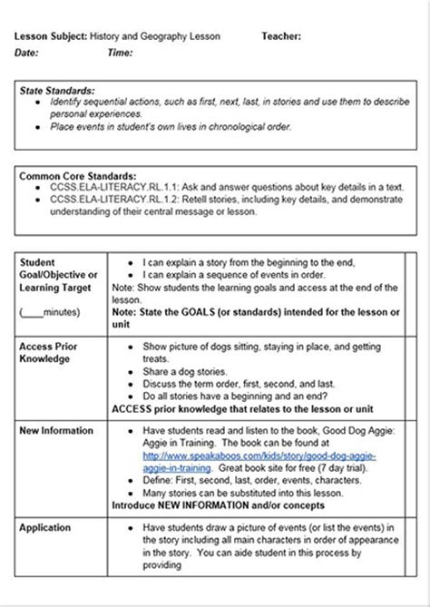common lesson plan template common history lessons free lesson plan template