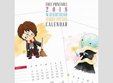 Free Printable 2018 Watercolor Harry Potter Calendar The