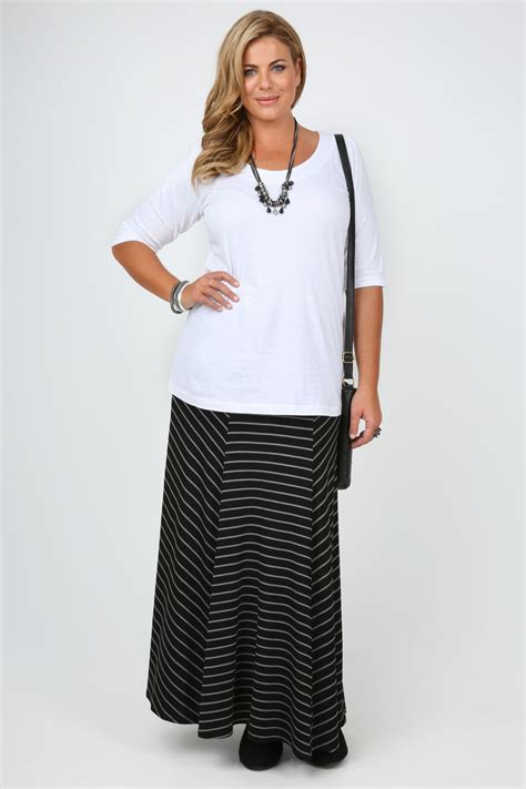 Maxi Black And Grey black jersey panelled maxi skirt with grey stripe print