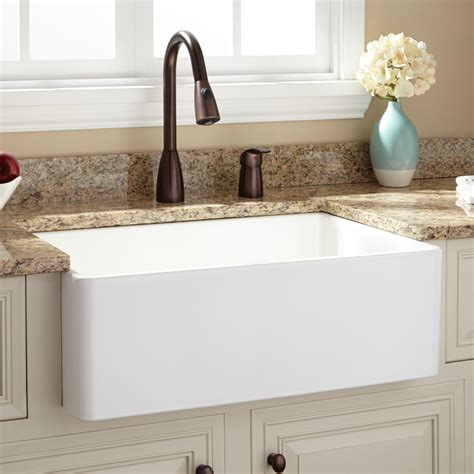 30 inch apron sink white 30 quot baldwin fireclay farmhouse sink with smooth apron ebay