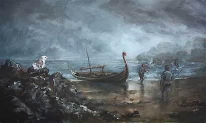 Viking Boat Shore Vikings Painting Paintings Longship